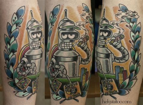 bender tattoo school neo traditional bender futurama