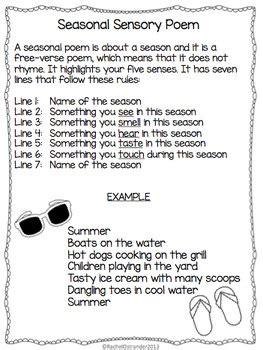 sensory poem template seasonal sensory poem defining writing by mrs o knows