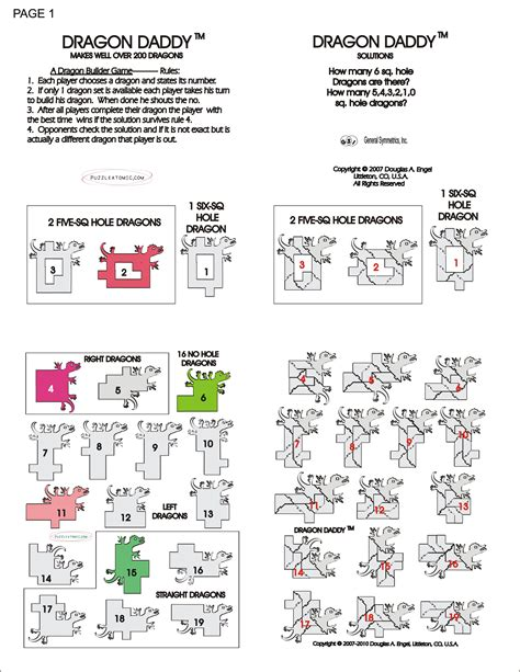 printable dragon puzzle print and fold over to make puzzle cards