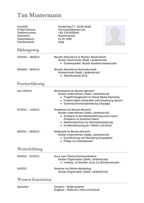 Lebenslauf Vorlagen Marketing initiativbewerbung muster f 252 r sachbearbeiter