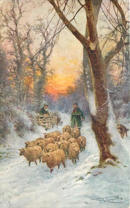 shepherd  bright green driving sheep  road  snow greeting  man  gate red sunset