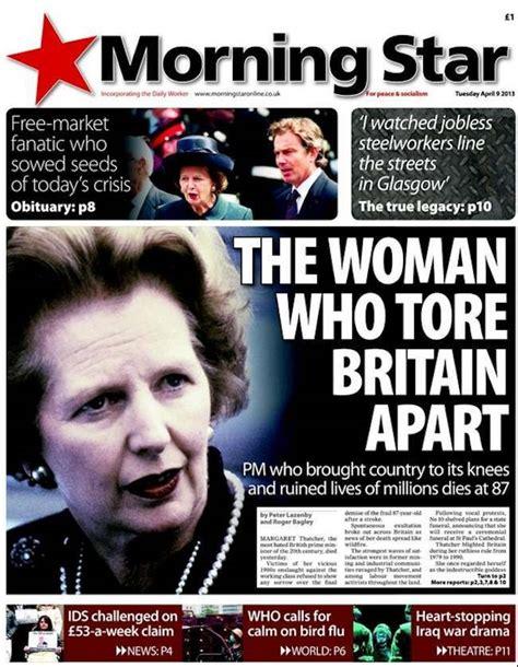 anorak news margaret thatchers death  newspapers
