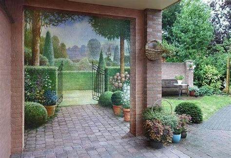 Amazing Painting Ideas For Brick Walls Creating Optical Garden Wall Paint