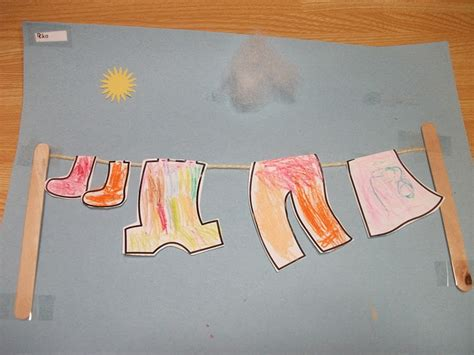 Kindergarten Paper Crafts - preschool crafts for hanging laundry clothes paper