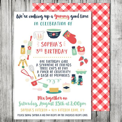 Kids Cooking Birthday Party Invitation Cooking Baking Pered Chef Invitation Template