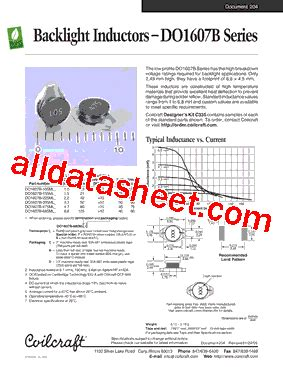 coilcraft inductors datasheet do1607b 225ml datasheet pdf coilcraft lnc