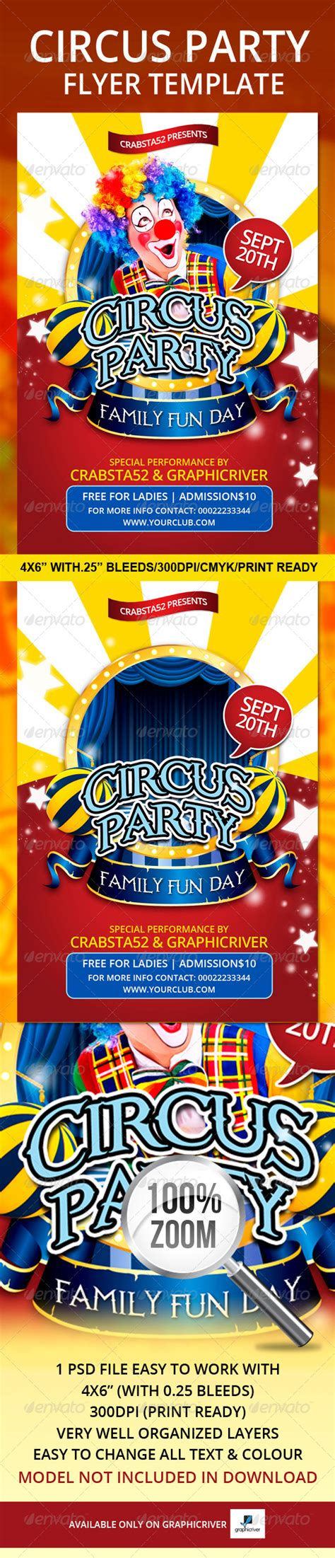 Circus Party Flyer Template Graphicriver Graphicriver Iii Flyer Template