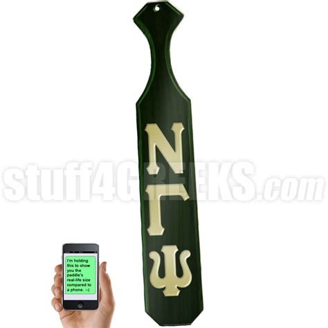 nu gamma psi letter paddle with forest green glossy wood