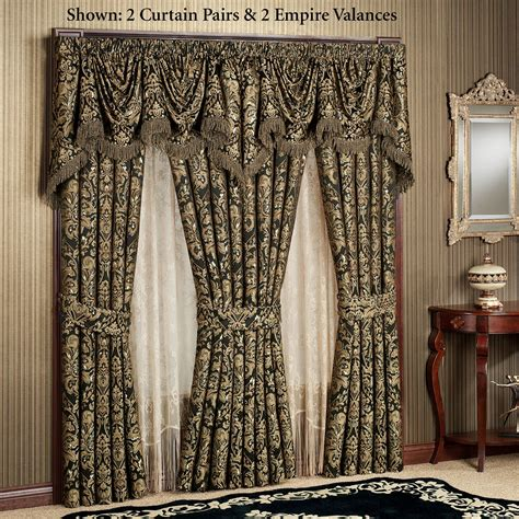 Black And Gold Window Valances Imperial Damask Empire Valances And Curtains