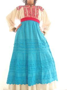 Aida Maxi Blue handmade mexican embroidered dresses and vintage treasures