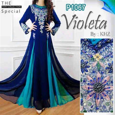 Karena Gamis Pesta Navy baju gamis pesta violeta sifon p1067 busana muslim gaun