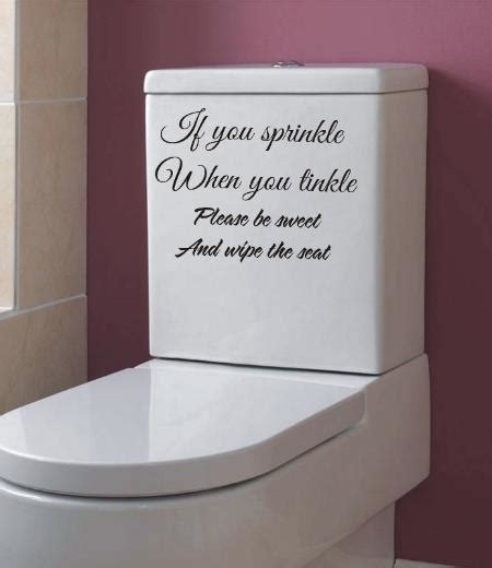 If you sprinkle when you tinkle bathroom wall art sticker quote