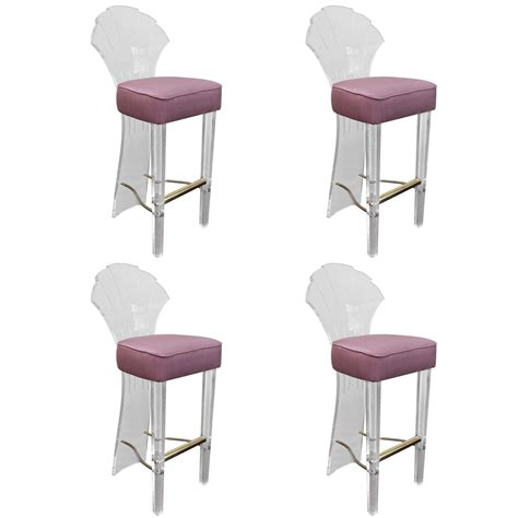 Bar Stool Foot Rest by Set Of Four Lucite Bar Stools With Brass Foot Rest By Hill