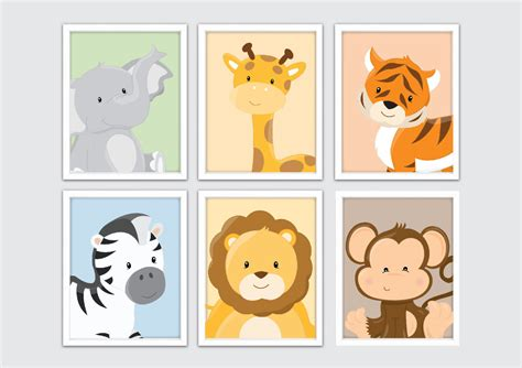 Animal Wall Decor For Nursery Baby Animal Prints Jungle Nursery Wall Decor Zoo Animals