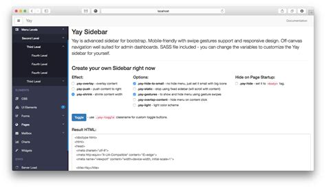 bootstrap sidebar layout yay advanced sidebar for bootstrap by nk codecanyon