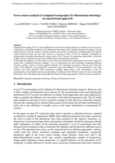 (PDF) Error sources analysis of computed tomography for