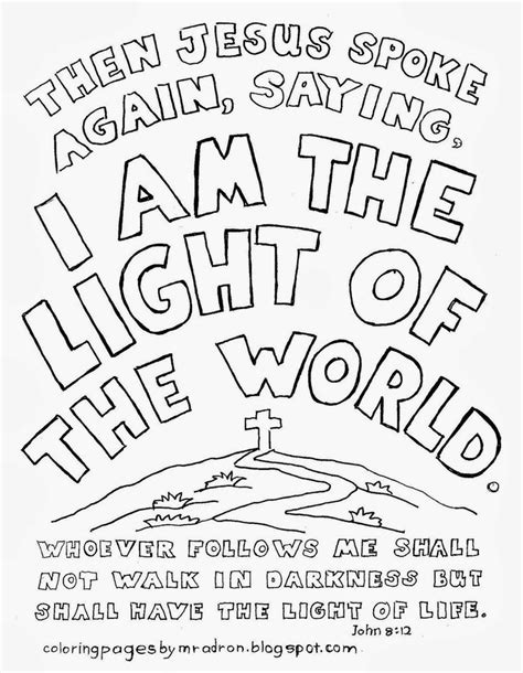 jesus is the light of the world coloring page coloring home