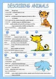 english teaching worksheets describing animals