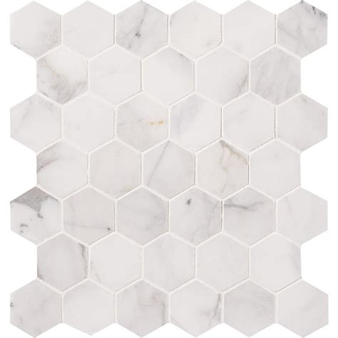 Ms international greecian white hexagon 12 in x 12 in x 10 mm polished marble mesh mounted