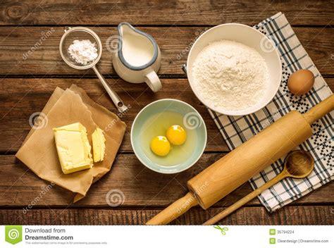 ingredient cuisine dough recipe ingredients on vintage rural wood kitchen