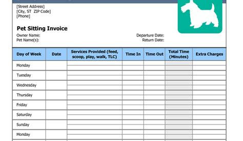 7 Pet Sitting Invoice Template Af Templates Boarding Invoice Template