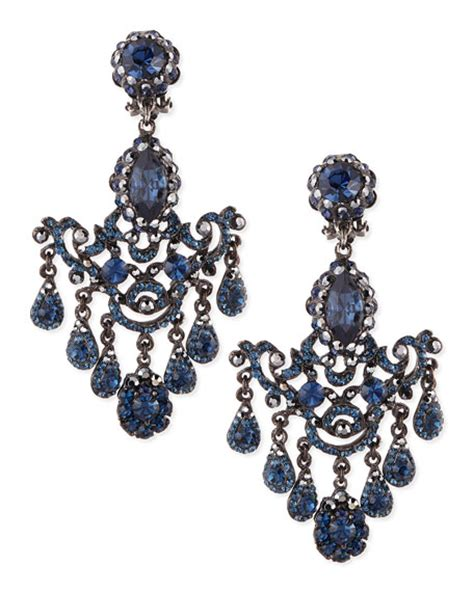 Gunmetal Chandelier Earrings Jose Barrera Gunmetal Blue Chandelier Clip On Earrings
