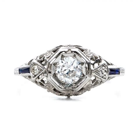 and sapphire deco ring estate and sapphire deco engagement ring 100904