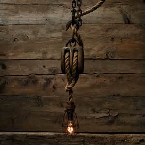 industrial rustic lighting the captains quarters pendant light wood pulley