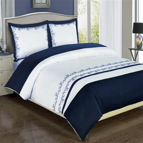 Navy And White Duvet Cover Set by Amalia Embroidered Navy White Duvet Cover Set