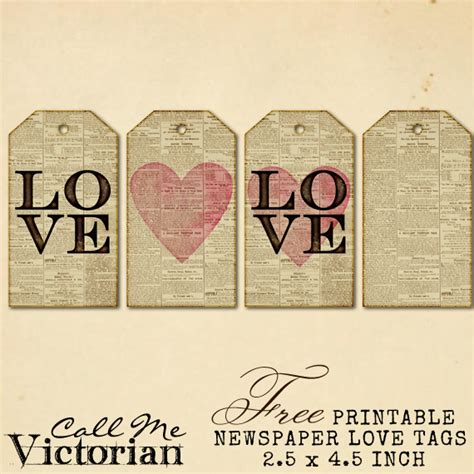 printable tags scrapbooking free printable newspaper love tags can also download as