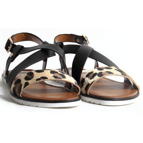 leopard flat sandals womens buckle up leopard print flat heel slingback