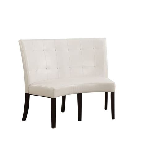 banquette seating height modus bossa dining height banquette in white leatherette