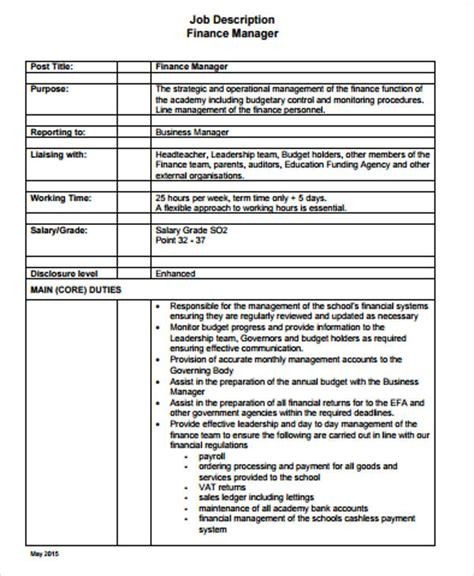 business manager description 9 sle business manager descriptions sle templates