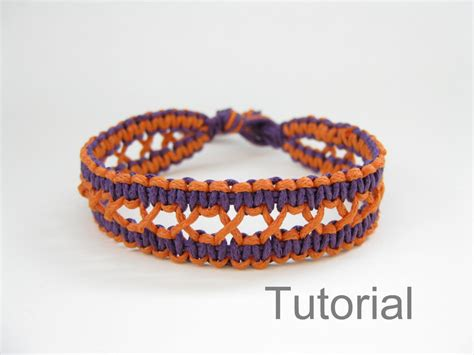 Easy Macrame Bracelet Patterns - knotted bracelet pattern macrame tutorial pdf purple orange