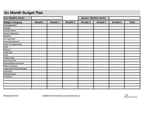 6 month business plan template free printable income and expense sheet spreadsheet
