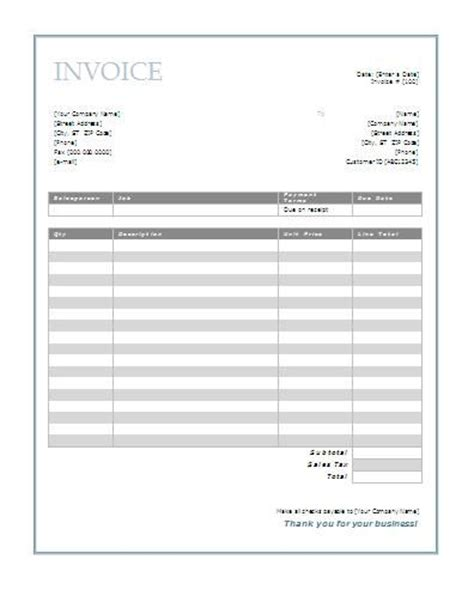 invoice template printable free free invoice template business ideas