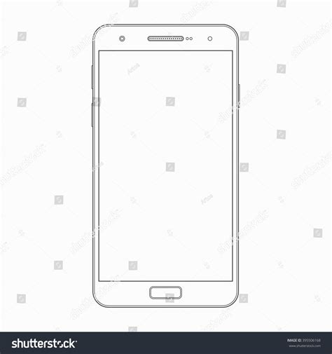 cell phone template smartphone outline template vector wireframe contour stock
