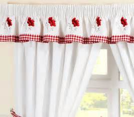Poppy Kitchen Curtains Poppies Gingham Embroidered Pelmet To Match Kitchen Curtains L136 Quot X W10 Quot Ebay