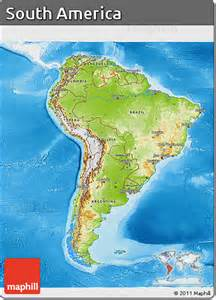 free physical 3d map of south america single color outside