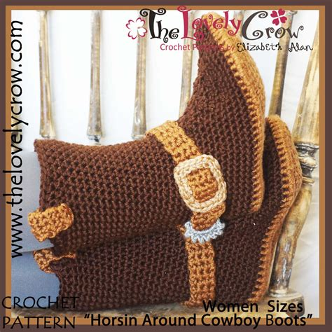 cowboy boot slippers for adults crochet pattern sizes cowboy boots