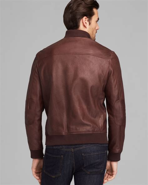 cole haan brown leather jacket cole haan varsity leather jacket in brown for lyst