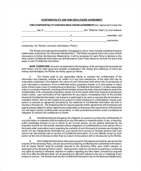 nda template startup confidentiality agreement printable sle non
