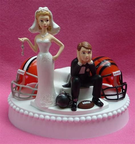 wedding cake topper team rivalry football house divided