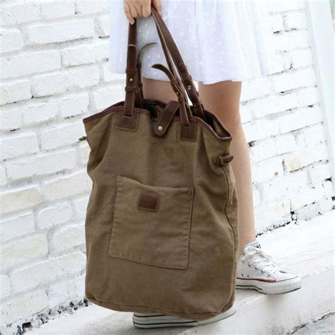Calf Leather Small Sling Bag virginland tote cotton washed canvas leather bag