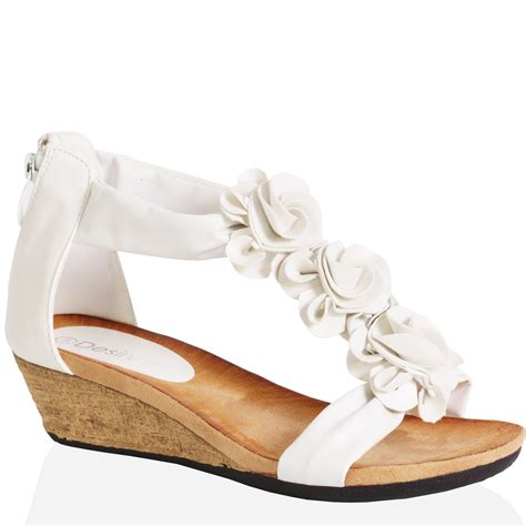 Wedges Flower womens flat wedge heel flat zip open toe summer