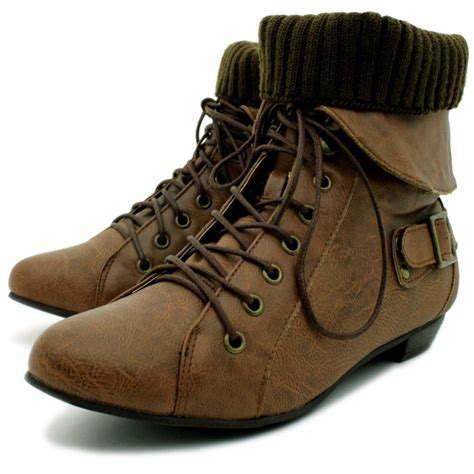 womans lace up boots womens leather style lace up buckle knit pixie ankle
