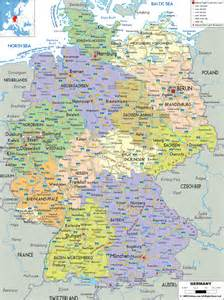 large detailed political and administrative map of germany