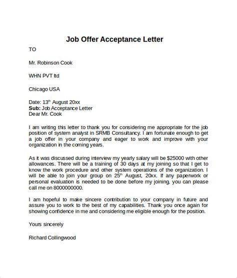 letter of acceptance template sle offer acceptance letter 9 free
