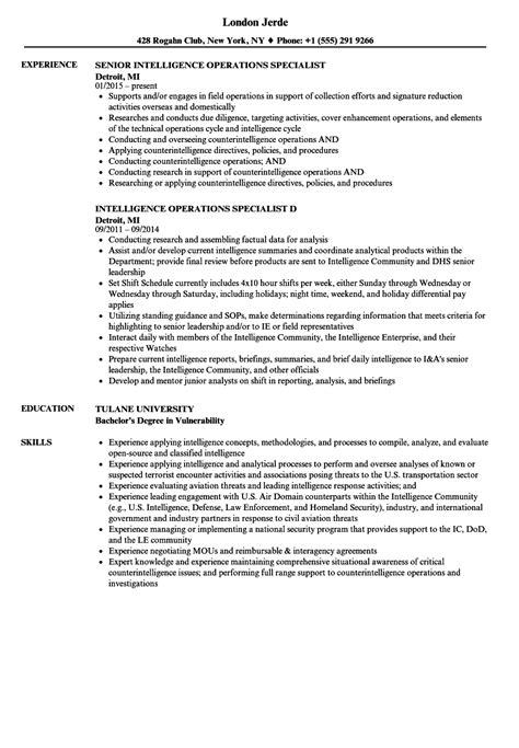intelligence operations specialist resume sles velvet