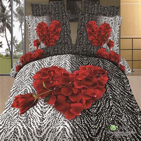 Ben 10 Duvet Set Heart Shaped Petals 3d Red Rose Black And White Zebra
